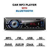 LSLYA (TM) Car Stereo Audio Receiver FM Radio MP3 player with Bluetooth USB/SD/AUX/MMC Single Din In-Dash with Remote Control
