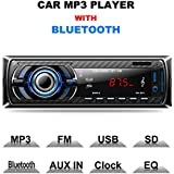 LSLYA Car Stereo Audio Receiver FM Radio MP3 player with Bluetooth USB/SD/AUX/MMC Single Din In-Dash with Remote Control