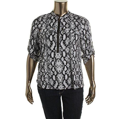 c36caa04 Calvin Klein Women's Plus Size Modern Essential Zip Front Roll Sleeve Blouse