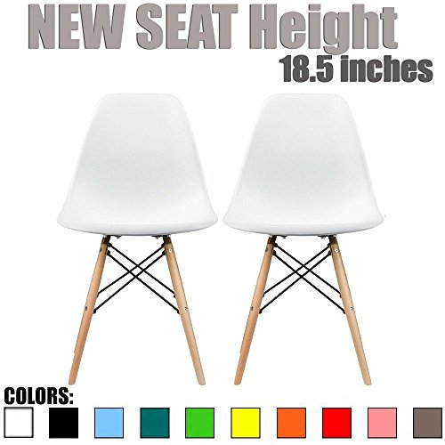 2xhome - Set of Two(2) - New Seat Height 18.5 inches - Eames Chair White Eames Side Chair White Seat Natural Wood Legs Eiffel For Dining Room Molded Plastic Seat Dowel Leg