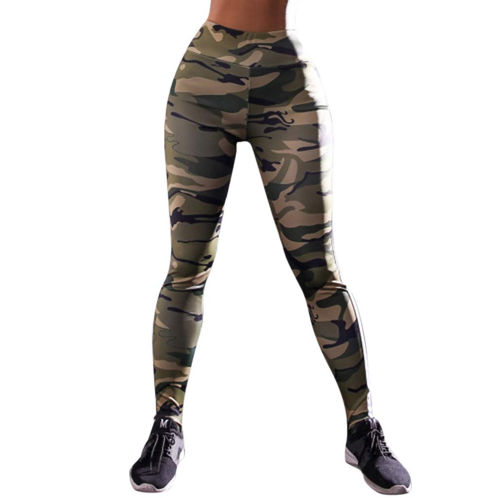 TnaIolral Women Workout Print Leggings Fitness Sports Gym Running Yoga Athletic Pants Green