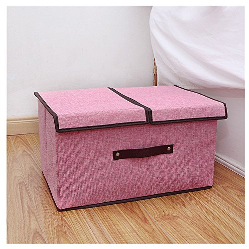 Gobuy Cotton Linen Large Capacity Collapsible and Stackable Storage Bin Box with Lid(Pink) (Large Outdoor Wreaths Sale)
