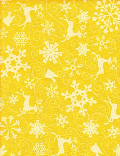 Deer Creek Quilt - Ho Ho Ho Let it Snow by Nancy Halvorsen from Bernatex 100% Cotton Quilt Christmas Fabric 3296 30 Yellow Gold Reindeer Snowlfakes By the Yard