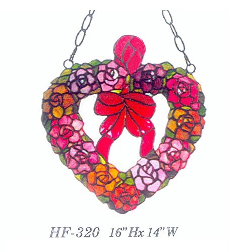 HF-320 Vintage Tiffany Style Handmade Stained Glass Church Art Warm Heart Shape with Bowknot Ring Window Hanging Glass Panel Suncatcher, 16