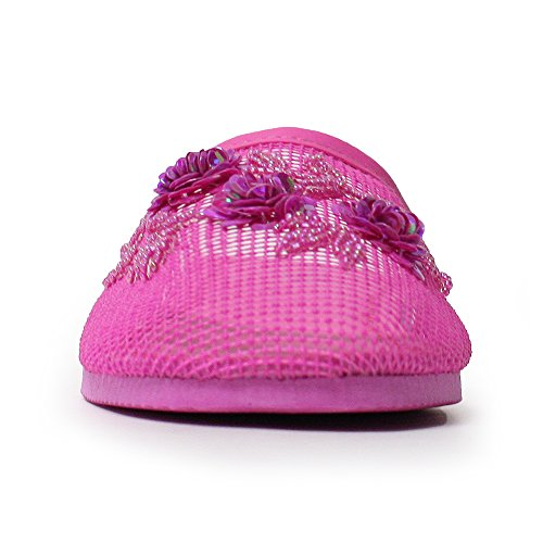 Slippers Embellishment Original Mesh Women's 'SYLVIA' Pink Ventilated Floral H2K Flat Lightweight Super with 5xP84Xw