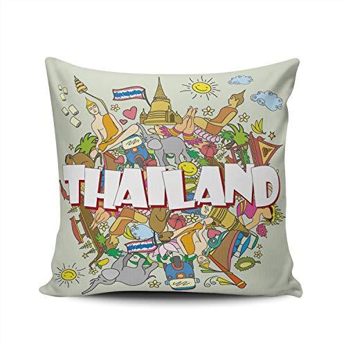 MUKPU Pillow Covers Thailand Tropical Elephant Temple Chiang Mai Throw Pillow Case Hidden Zipper Decorative Custom Pillow Cases Double Sides Printed European 26x26 Inches