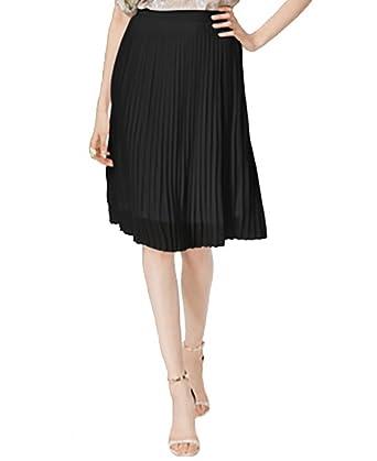 ba2c4b62b3 Olivia Grace Pleated A-Line Skirt (Jet Black, X-Large) at Amazon Women's  Clothing store: