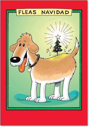 12 'Fleas Navidad' Boxed Christmas Cards with Envelopes 4.63 x 6.75 inch, Funny Puppy Christmas Cartoon Holiday Notes, Cute Doggy Christmas Notes, Silly Christmas Stationery B5711]()