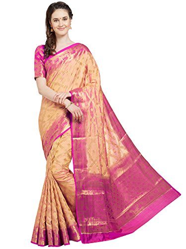 Viva N Diva Saree for Women's Light Peach Banarasi Art Silk (Two Tone Art Silk) Saree with Un-Stiched Blouse Piece,Free Size