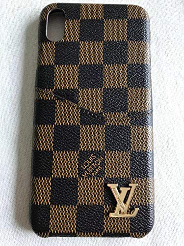 Phone Case for iPhone Xs Max Case, Vintage Elegant Luxury Designer Brown Plaid Monogram PU Leather Classic Style Cover with Card Holder Anti-Scratch Shock Reduction Case for iPhoneXS Max