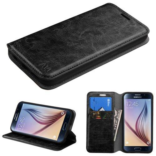 Samsung Galaxy S6 Edge Case - Wydan (TM) Credit Card Leather Wallet Style Case Cover For Samsung Galaxy S6 Edge - Black w/ Wydan Stylus Pen