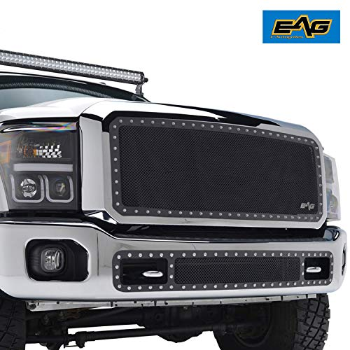 EAG Rivet Black Mesh Wire Mesh Grille with Chrome Shell Fit for 11-16 Ford Super - Shell Chrome Grill