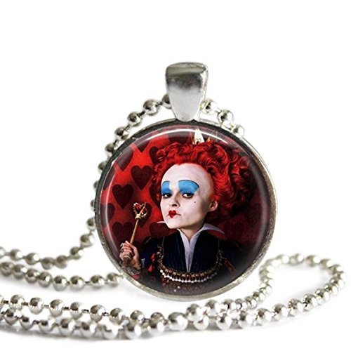 Alice In Wonderland Red Queen Silver Plated Pendant (Rabbit Plated Necklace)