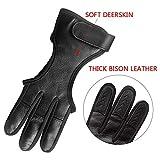 Seakcoik Genuine Leather Three Finger Archery Gloves Hand Guard Protective Archery Gloves Black - L