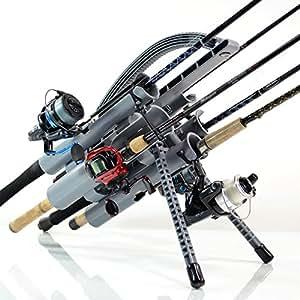 Rod-Runner Pro Fishing Rod Rack - Gray | Portable Fishing Rod Holder Caddy