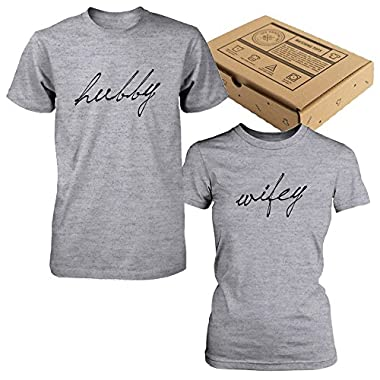 Cute Hubby and Wifey Couple Shirts – Matching Grey Cotton T-shirts