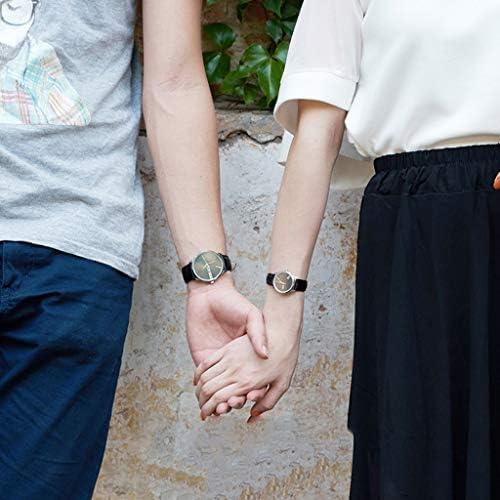 バレンタインのロマンチックな腕時計、2つのシンプルなクリスタルローマ数字の時計のセット、彼と彼女の水晶アナログ手首は、恋人のための時計の贈り物を設定します。 (色 : Brown)