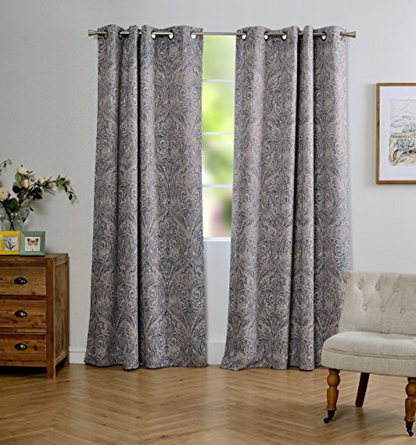 Cheap MYSKY HOME Fashion Koru Design Print Thermal Insulated Blackout Curtain with Grommet Top for Dining Room, 52 by 95 inch, Blue – 1 Panel