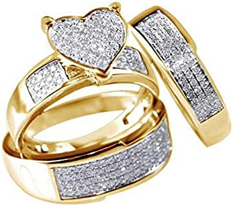 3Pcs/Set Jewelry Yellow Gold Filled Heart White Sapphire Wedding Engagement Party Ring For Women