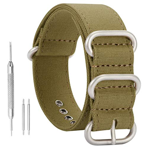 18mm Army Green High-end Superior NATO Style Sturdy Import Canvas Sport Watch Band Strap Replacement for - Big Bands Import