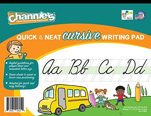 - Channie's Quick & Neat Cursive Handwriting Pad, 80 Pages Front & Back, 40 Sheets, Grades 1st - 3rd, Size 8.5