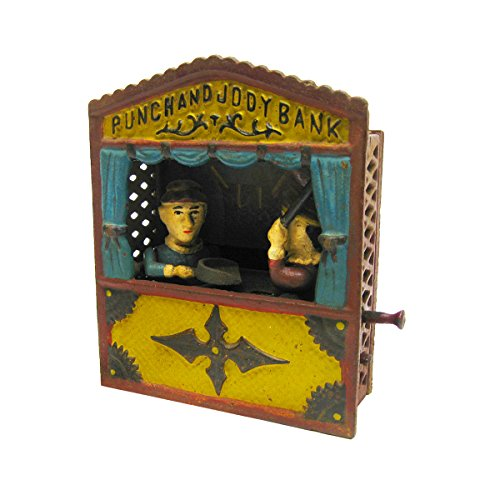 design-toscano-sp1222-punch-and-judy-theater-collectors-die-cast-iron-mechanical-coin-bank