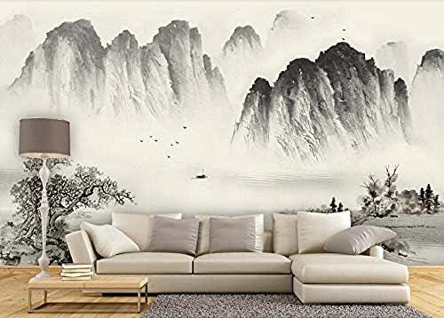山笑の美 壁画の壁紙壁紙編まれた壁紙3D新しい中国風インドの水墨画3D風景の壁紙壁画の背-280X200cm