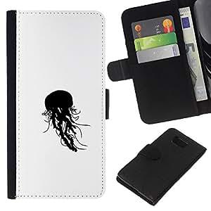 EJOY---Tirón de la caja Cartera de cuero con ranuras para tarjetas / Samsung ALPHA G850 / --Jelly Fish B & W