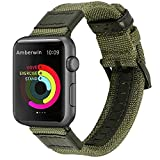 Amberwin Apple Watch Band, Nylon iWatch Strap Replacement Bands with Stainless Metal Clasp for Apple Watch Series 3 Series 2 Series 1 Sport and Edition (Army Green, 42mm)