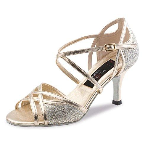 cm Brocade Dance Ladies Epoca 6 Shoes Platinum Nueva Leather Stiletto Rose RFzwBq