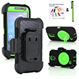 NEW Supper Rugged Shock-proof Hybrid Swivel Ring Kickstand Case w/ Belt Clip Holster for Samsung Galaxy S4 Mini - Very Protective from drops or bumps & Dustproof (Shock&Bump-proof Case - Black and Green)