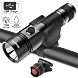 WasaFire Bike Lights Set-USB Rechargeable Front Light &(CR2032) Tail Light, 1200 Lumens Waterproof Mountain Road Bicycle LED Headlights Super Bright Easy to Mount Fits Outdoor Kids Rider