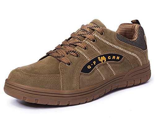Minetom Men Women Spring Summer Outdoor Hiking Shoes Waterproof Walking Shoes Low Rise Unisex Climbing Shoes Anti-Slip Trekking Shoes F Khaki Yellow DRFuFcm9