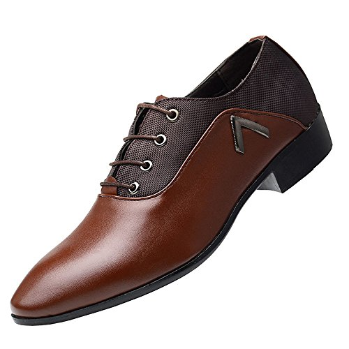 missfiona Brown Derby Mens Mesh up Oxford Lace Pointed Casual PU Shoes Plain Dress Toe Leather Shoes rrZqSw