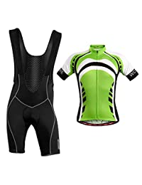 Prettyia Comfortable Breathable Bicycle Cycling Short Sleeve Clothing Set,Jersey and Bib Shorts Pants Suits for Outdoor Sports