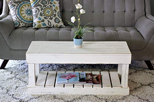 (White Slatted Bottom Coffee Table)