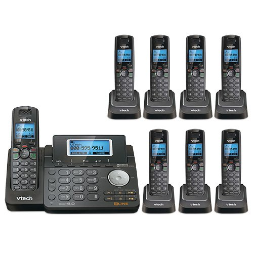 - VTech DS6151-11 DECT 6.0 2-Line Expandable Cordless Phone + (7) DS6101-11 Accessory Handset, Black