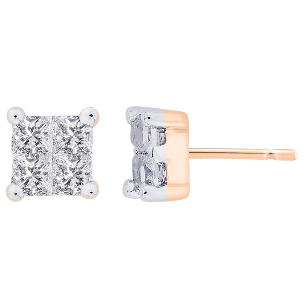 KATARINA Prong Set Princess Cut Diamond Stud Earrings in Gold or Silver 1//3 cttw, H-I, I2-I3