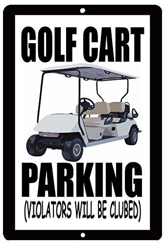 Rogue River Tactical Funny Golf Cart Parking Metal Tin Sign Golf Wall Decor Man Cave Bar Golfer Ball