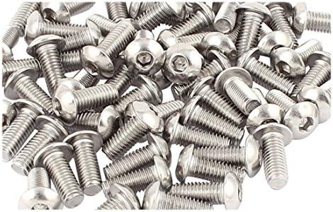 M5 Tornillos de cabeza de boton M5x12mm Tornillos de cabeza de boton de hueca hexagonal de acero inoxidable 50pzs TOOGOO R