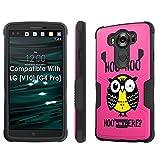 LG [V10] Tough Case [SlickCandy] [Black/Black] Hybrid Combat [Kick Stand] [Shock Proof] - [Hoo is There Owl] for LG [V10] [G4 Pro]