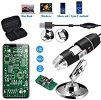Jiusion Original 40-1000X USB Microscope with Portable Carrying Case, Digital Magnification Endoscope Camera 8 LEDs Metal...