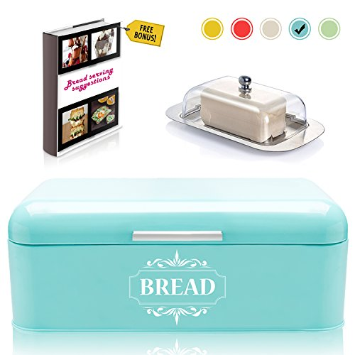 Vintage Bread Box For Kitchen Stainless Steel Metal in Retro Turquoise + FREE Butter Dish + FREE Bread Serving Suggestions eBook 16.5