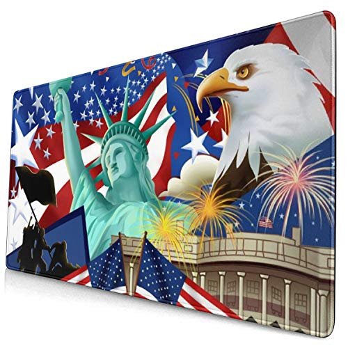 Celebrating Independence Day Bald Eagle Mouse Pad Gaming Mouse Mat Non-Slip Rubber Base Mousepad for Computer Laptop Keyboard PC ()