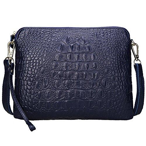 (SEALINF Womens Leather Handbag Cowhide Shoulder Bag Alligator Clutch Crossbody (sapphire),9.8