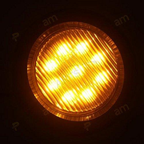 Partsam 2 Round Led Trailer Side Marker Lights w//Grommets 9 LEDs Waterproof Amber 4
