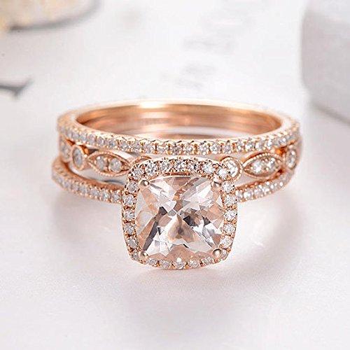 Amazon Com Art Deco Morganite Bridal Set Cushion Cut Rose Gold