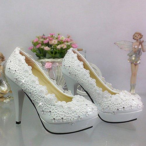 de Encaje Blanco perla JINGXINSTORE de redonda zapatos mujer cristal cabeza con boca zapatos una superficial novia de Strass blanco boda BXHdq