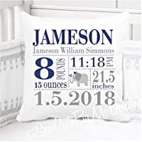 Birth Announcement Pillow for Baby Boys Nursery - Elephant in Navy and Grey - Includes Personalized Pillowcase and Pillow Insert