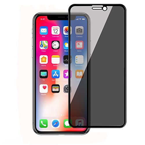 iPhone X Privacy Screen Protector, SHAXII Premium Anti Spy Anti-Peep Anti-Glare Anti-Scratch [Full Coverage] Tempered Glass Film for iPhone X/10 5.8-Inch (Black) by Shaxii